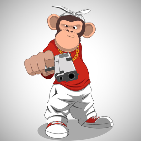 cartoon gangster: Vector illustration, funny monkey with a gun