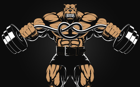 cartoons animals: Vector illustration of an angry dog with a barbell