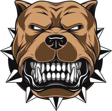 illustratie Angry hond mascotte hoofd, op een witte achtergrond