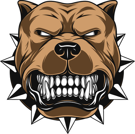 angry dog: ilustración cabeza de la mascota Perro enojado, sobre un fondo blanco