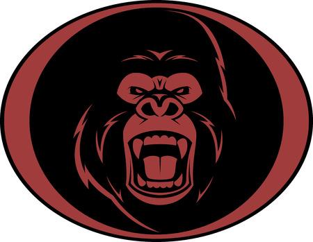 ferocious: Vector illustration, head evil ferocious gorilla shouts