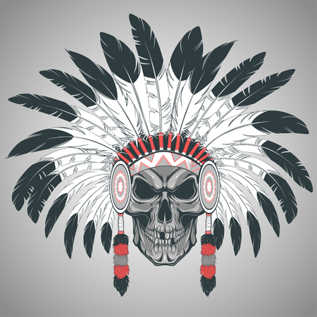 hat with feather: Vector illustration, Indian chief skull on a white background Illustration
