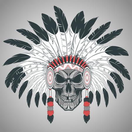 Vektor-Illustration, Indianerhäuptling Schädel auf einem weißen Hintergrund