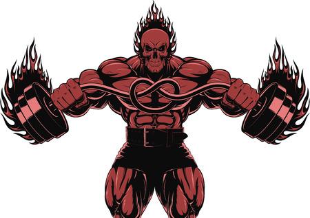 cuerpo hombre: Ilustraci�n vectorial de un fuerte culturista con mancuerna