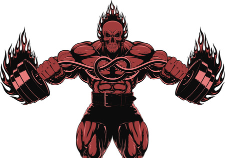 bend: Vector illustration of a strong bodybuilder with barbell