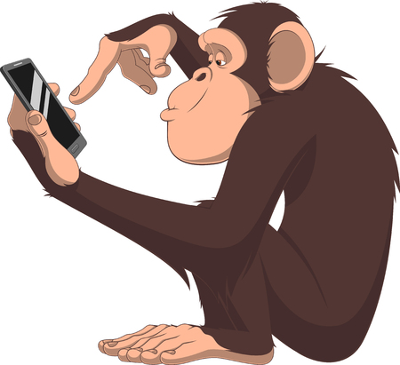 Vector illustration, funny chimpanzee it is playing with a smartphone