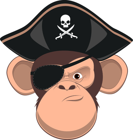Vector illustration, funny chimpanzee in a pirate hat, dreadlocks, gold teeth