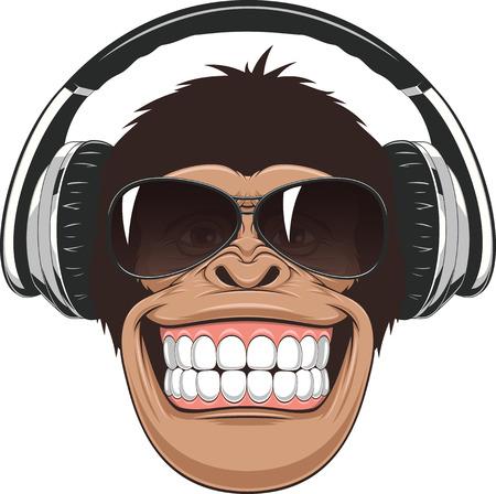 divertido: Ilustración vectorial, chimpancé divertido en vidrios y los auriculares de color