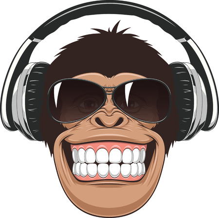 monkey face: Vectorial illustration,funny chimpanzee in colored glasses and headphones