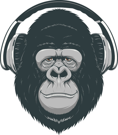 Vector illustration, funny gorilla listening to music on headphones