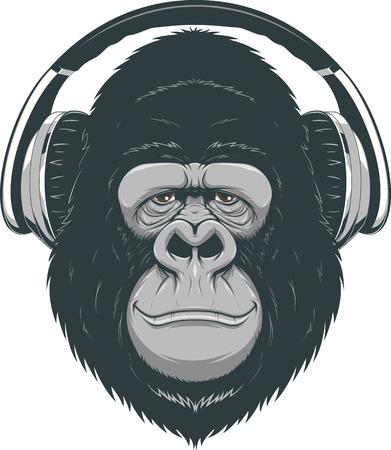 Vector illustration, funny gorilla listening to music on headphones
