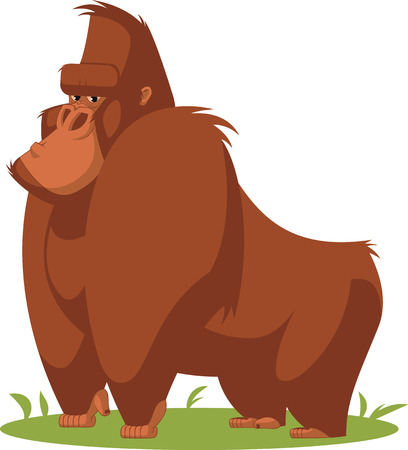 euphoria: Vector illustration, funny gorilla standing on the lawn Illustration