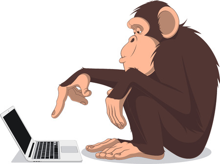 brooding: Vector illustration, Clever monkey at a computer