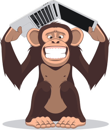 clever: Vector illustration, Clever monkey at a computer