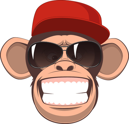 Vector illustration, funny chimpanzee in a baseball cap and glasses smiling Vettoriali