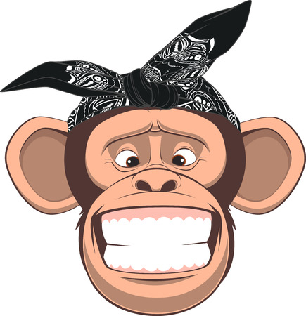 Vector illustration, funny monkey in bandana on white background Ilustração