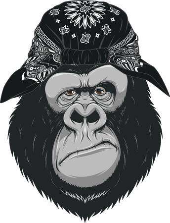 Vector illustration, head funny good gorilla, smiling