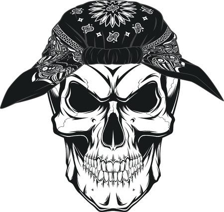Vector illustration, human skull in bandana on white background Stock Illustratie