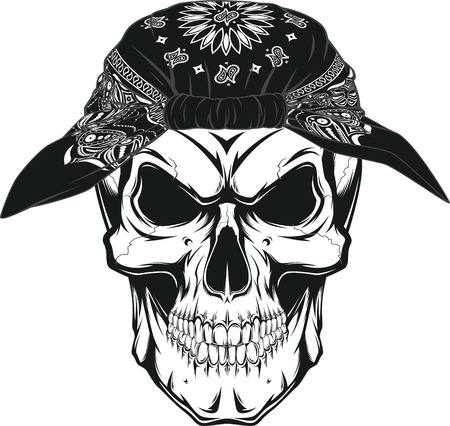 Vector illustration, human skull in bandana on white background Ilustração
