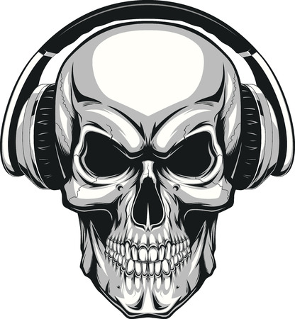 Vector illustration, human skull listening to music on headphones