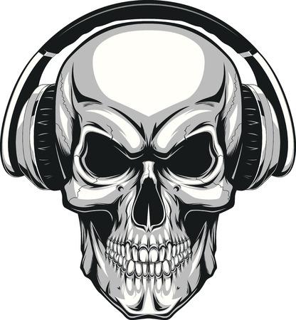 calavera: Ilustración del vector, cráneo humano escuchando música en los auriculares Vectores