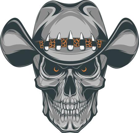 tete de mort: Vector illustration, crâne dans un chapeau de cowboy
