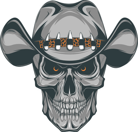 hand drawn cartoon: Vector illustration, skull in a cowboy hat