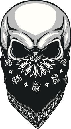 Ilustración del vector, bandana cráneo en un fondo blanco