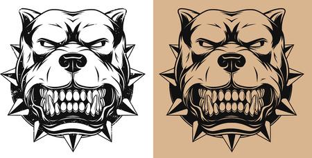 perro furioso: Ilustraci�n del vector de la mascota pitbull enojado la cabeza, contorno Vectores