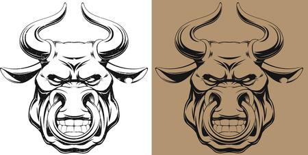 vaca: Ilustración vectorial, toro feroz sano, esquema, con efectos grunge Vectores