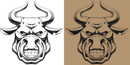 Vectorial illustration, healthy ferocious bull, outline with grunge effect