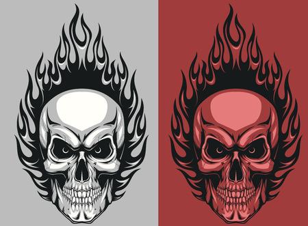 calavera: Ilustraci�n vectorial de un cr�neo humano con las llamas
