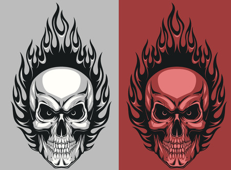 Vector illustration of a human skull with flames
