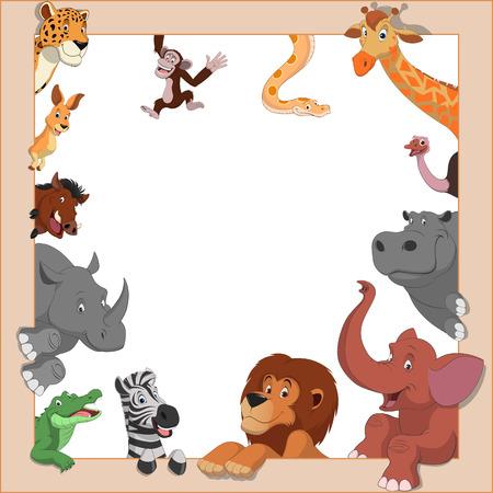 coldblooded: illustration set of funny exotic animals in frame Illustration
