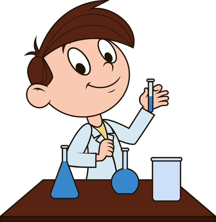 engaged: Vector illustration, the boy is engaged in chemistry class