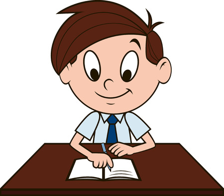 sitting at table: Vector illustration, the boy wrote in a notebook Illustration