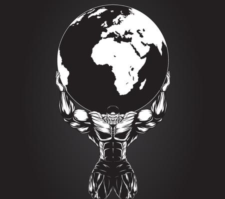 Vector illustration, homme fort la tenue d'une planète