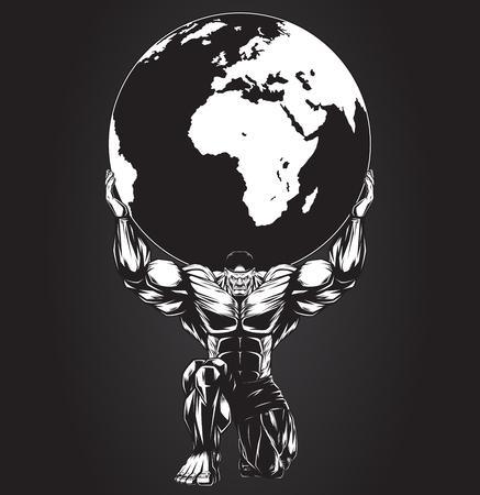 bodybuilder: Ilustración del vector, hombre fuerte sosteniendo un planeta