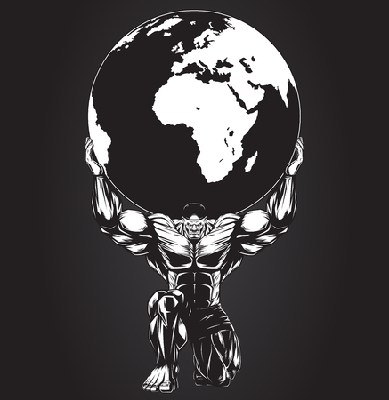 strong man cartoon: Vector illustration, strong man holding a planet
