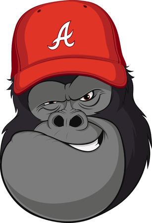 Vector illustration, funny gorilla in a red baseball cap
