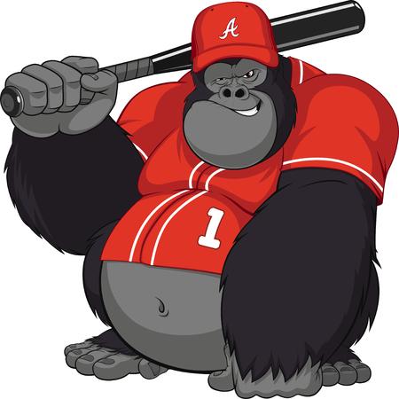 Vector illustratie, grappige gorilla met een honkbalknuppel