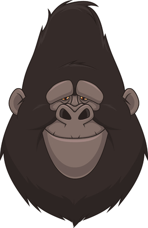 gazing: Vector illustration, head funny good gorilla, smiling