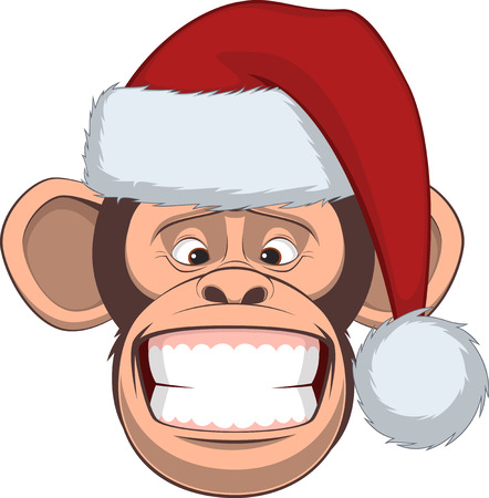 monkey suit: Vector illustration, funny chimpanzee in a festive hat