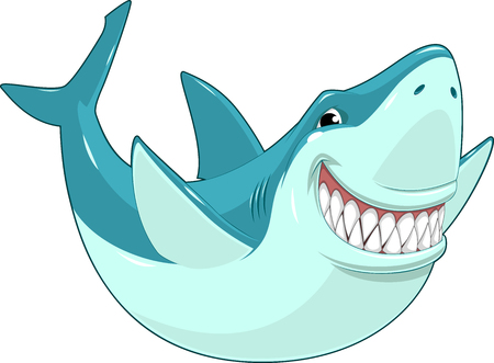 swims: Vector illustration, toothy smiling white shark swims