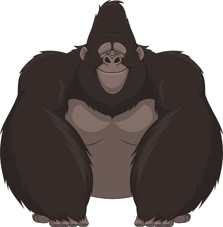 good humor: Vector illustration of funny gorilla sitting and smiling Stock Photo