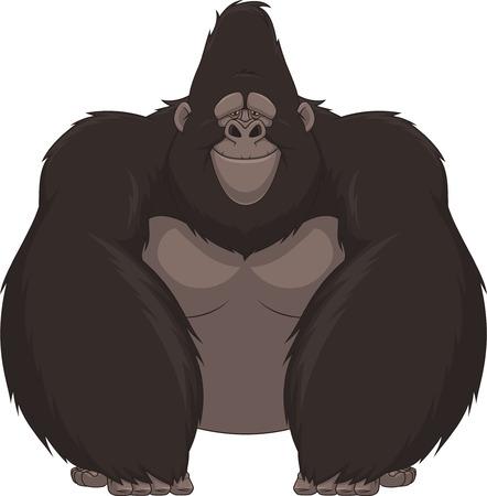 euphoria: Vector illustration of funny gorilla sitting and smiling Stock Photo