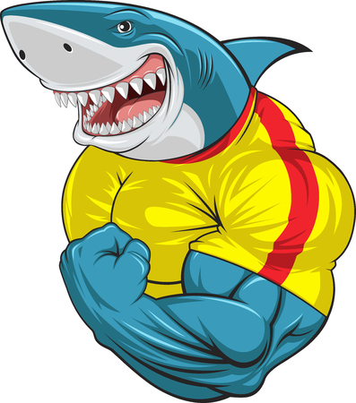 Vector illustration, toothy shark shows great biceps Vectores