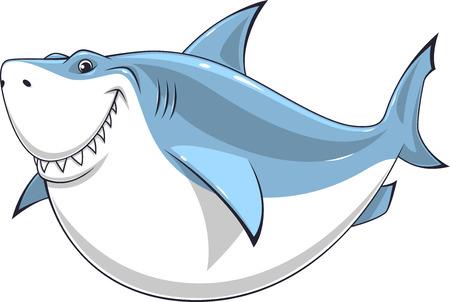 shark: Vector illustration, toothy smiling white shark swims