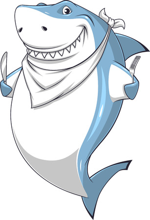 white shark: Vector illustration toothy white shark is about to eat breakfast