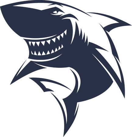 great white shark: Modern professional sharks logo for a club or sport team